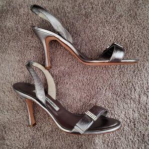 Manolo Blahnik Silver Heels size 36